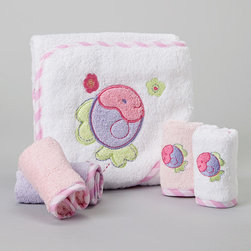 SpaSilk - Purple Fish Hooded Towel Set - Splish splash, it's time for a bath. Featuring washcloths for cleanups and a hooded towel for after cleaning up, this supersoft and absorbent set is Baby's best bath time companion. �� Includes hooded towel and four washcloths Towel: 26'' x 30'' Washcloth: 9'' x 9'' 100% cotton Machine wash; tumble dry Imported