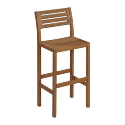 HomeStyles - Wooden Bar Stool - Eco-friendly. Traditional slat design. Durable and natural water resistance. Ladder back. Contoured seat. Imparts slightly modern touch. Arc shaped back legs. Made from shorea wood. Eucalyptus finish. Seat height: 29 in.. Overall: 16.5 in. W x 17.75 in. D x 42 in. H. Warranty. Assembly InstructionsCreate an island oasis in your own backyard with Home Styles Montego Bay Bar Stool. This Bar Stool is designed to provide endless hours of outdoor entertainment use.