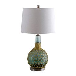 Green Glass Table Lamp with Ivory Shade - Offering Free Shipping in the Continental US! This 3-way green glass table lamp offers a traditional style featuring a gourd body with green finish and decorative weaved rope on the base with an ivory drum shade. This lamp is rated for 120-volts and uses a 150-watt incandescent or 23-watt CFL bulb, not included. The light source is soft and the illumination is pointed downwards. Table lamps are often used in combination to provide ambient lighting. There is a 3-way rotary on/off switch placed on the body of the socket, has a clear colored cord and shade mounts with a harp. It's a perfect addition to your living room, family room, dining room, foyer, office or ideal for an end table next to a chair or couch.  ̢���� Features an ivory fabric drum shade with a green finish and decorative weaved rope on the base  ̢���� Measures 16-inches (D) 16-inches (W) by 25.75-inches (H), 7.04-pound  ̢���� 150-watt incandescent or 23-watt CFL bulb   ̢���� UL and ETL listed and approved  ̢���� Comes with a 1-year limited warranty Interested in more than one? Contact support@chairish.com to purchase multiples.