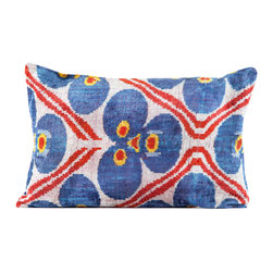 """Indigo&Lavender - 16"""" x 24"""" Silk Velvet Ikat Pillow, Blue/Red - Made from Ikat textiles that are loomed from hand-dyed silk in Uzbekistan, along Marco Polo�۪s renowned Silk Road, each pillow has been hand-sewn in Istanbul, Turkey. The goose down fill ensures extra luxury. Solid linen backing and zipper."""