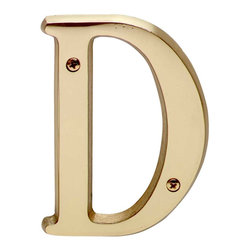 "Renovators Supply - House Numbers Bright Solid Brass 4"" House Letter D - Made of solid brass, these polished die cast letters are made to withstand the elements. Measuring 4 in. high, they are easily seen from the curb. They will update your home's exterior!"