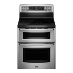 """Maytag - Gemini Series MET8885X 30"""" Freestanding Electric Range With 5 Radiant Elements - The Maytag MET8885X 67 Cu Ft capacity electric double oven range features the power of Even-Air true convection and the flexibility of a Triple-Choice element Count on the Triple-Choice element for the flexibility to handle a variety of cooking needs..."""