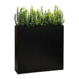 Modern Planter - Partition Tower Planter, Black, Large - Growth strategy: You want a flexible, organic plan for marking areas in your home, office or patio. Enter this elegant planter. The base is deep enough to hold root systems for the most extravagant plants, giving you the ability to change its character frequently. Who knew a wall could lead to such freedom of expression?