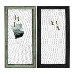 UMA - Wire Mesh Photo Frames Set of 2 - Two frames, fitted with old fashioned wire screens, have a distressed finish and let you clip and display favorite photos at will