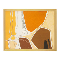 """J. Pocker - """"Modern Sunshine"""" Print - Accessible art hand selected from a private collection. This wood-framed modern print will bring a little sunshine into your home. Whether you frequent museums, love art history or just go with your gut instinct when it comes to evaluating artwork, there's no denying this piece is radiant and cheerful."""