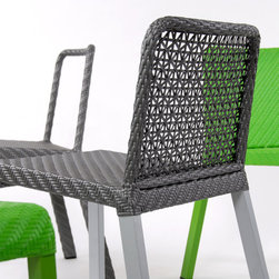 Lebello - Lebello Modern Outdoor Dining Chair - 4L Chair - 4L Chair by Lebello is a modern outdoor four legged aluminum T4 stacking chairs available in three different weaving configurations. The frame is finished in a polyester powder coat. The open weave model provides a sporty and modern look while providing additional ventilation during hot summer days.