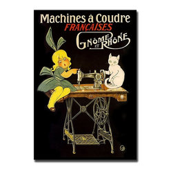 Trademark Global - Machines a Coudre Style Advertisement Canvas - Advertisers know that adorable kids and cute animals sell products.  This vintage style advertising print is proof that such a concept is not new.  This delightful French ad for sewing machines, typical of its day, is an amazing Giclee reproduction on canvas. The bright cheery colors stand out boldly against the black background.  If sewing is your hobby, this terrific print would make a unique addition to your craft room. Gallery wrapped Giclee on canvas art. Ready to hang. Traditional style. Subject: Vintage. Format: Vertical. Size: Large. Canvas material. 24 in. W x 32 in. H (5.25 lbs.)Giclee is an advanced printmaking process for creating high quality fine art reproductions. The attainable excellence that Giclee printmaking affords makes the reproduction virtually indistinguishable from the original artwork. The result is wide acceptance of Giclees by galleries, museums and private collectors.