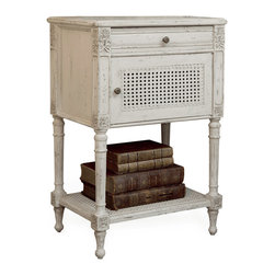 Eloquence - Giverny French Country Louis XVI Antique White Caned Nightstand Side Table - This Louis XVI-inspired caned, whitewashed nightstand will make you feel like royalty every time you place your hand upon it. You'll feel the smoothness of the finish and revel in the carved details, grateful that you added this piece to the perfect bedroom set.