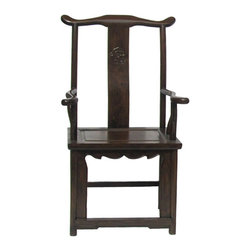 Golden Lotus - Chinese Elm wood Brown Yoki-back Taishi Armchair - Tai Shi is a rank like prime minister in the old empire. this kind of chairs are called Tai Shi chairs because they are luxury and only used by powerful and rich people in the old time. They reflect the owner's social recognition to some extent.