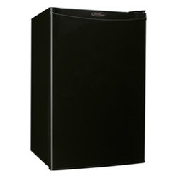 Danby - 4.4 CF Compact Refrigerator - Black - When you're in need of a counter-high refrigerator that offers a large storage area in a compact space there�s no need to look any further than Danby's DCR044A2BDD model. This high-tech unit offers 4.4 cubic feet (126 L) of refrigeration capacity and is ideal for workshops, dens, rec-rooms and lunchrooms etc. It's outfitted with a convenient CanStor beverage dispenser for your favourite drinks and has more than enough room for tall bottles. The 2.5-shelf design offers maximum storage versatility and the appliance is controlled by an accurate mechanical thermostat and simple semi-automatic defrosting system.If you need to freeze certain types of foods or are simply looking for a place to make and store ice cubes this appliance meets the requirements as it also features a full- width independent freezer section. Since this attractive model is also Energy Star rated it won�t raise your power bills. This classy compact fridge can be found in white, black and smudge-free spotless steel finishes, making it suitable for any style of existing d�cor. In addition, it comes with an integrated door handle with a convenient reversible door hinge for both left and right-handed opening. It comes with a generous 18-month warranty on parts and labour with in-home service.4.4 cu. ft. (126 L) capacity compact fridge
