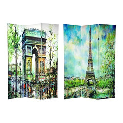 Oriental Unlimted - 3-Panel Double Sided Paris Room Divider - One double-sided divider, both sides shown in image. Unique and attractive paintings of the 2 of France's most famous public works. Canvas sections of each image stretched onto 3 solid Spruce hinged panel frames. Carefully reproduced onto art quality, lightweight and durable cotton blend canvas. Each panel: 15.75 in. W x 70.88 in. H. Base weight: 8.25 lbs.