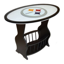 Fan Creations NFL End Table - The Fan Creations NFL End Table is a great way to furnish your favorite room and display your team pride. This piece is crafted from solid wood with a black finish and comes with a lower storage area with attractive spindle design. Choose from any of the NFL team logos and see it in stunning 3D under this table's beveled glass top! Measures 31.25L x 20.5W x 22.75H inches.About Fan Creations Fan Creations are in this business because they love their teams, too. With a wide range of licensed furniture, products, wall decorations and more for fans of NFL, college, and other teams, they're your source for gameday goodness.