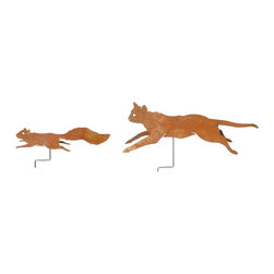 """Renovators Supply - Rust Metal Cat and Squirrel Set - Weathered steel garden cat measures 23"""" long x 6"""" wide with a projection of 7"""" and the squirrel is 16 1/2"""" long x 3 1/4"""" wide with a 4"""" projection.  The squirrel can be mounted on a branch of a tree."""