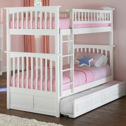 Columbia Bunk bed in White by Atlantic Furniture - The Columbia Bunk Bed is the perfect mission-style bunk bed for your children's bedroom. Available in twin-over-twin, twin-over-full, or twin-over-futon designs with railings on the top bunk, the sturdy Columbia Bunk Bed is constructed of solid hardwood. Add optional under-bed storage drawers or an optional trundle unit (neither option works with twin-over-futon style) under the bed to provide even more convenient space. The bunk bed comes with two modesty panels, which can be attached to both ends of the bunk bed to give the Columbia Bunk Bed a more grounded look. Available in Natural Maple, Antique Walnut, and White finishes, the Columbia Bunk Bed is sure to become your child's favorite sleepy-time fort.