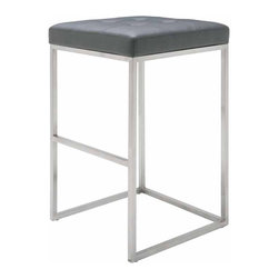 Nuevo Living - Chi Bar Stool, Set of 2, Grey - The ultimate in modern stool seating — bar none. Its sleek yet sturdy frame, with thick foam and Naugahyde-covered upholstery, makes for the ideal combo of comfort and style you want in your favorite setting.