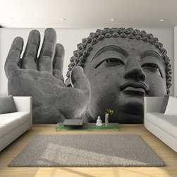 Asian Wall Murals - Buddha Wall Mural as a focal point in a contemporary living room. Black and white Buddha wall mural.