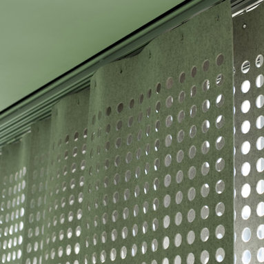 Wool Felt Perforated Panel Set - I am usually no fan of curtains, but these panels would work perfectly for me. I like that they are flat panels, no frills, and effectively allow light to penetrate the space while still maintaining semblance of privacy.