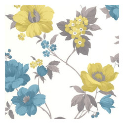 Graham & Brown - Eden Lime Wallpaper - Beautifully tropical, this floral trail statements in zesty colours or keeps it simple in neutrals. Gorgeously sophisticated with metallic and gloss highlights.