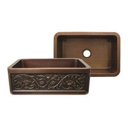 Whitehaus Collection - Smooth Copper Whitehaus WH3020COFCSF Copper Single Bowl Front Apron Kitchen Sink - Exceptional functionality and space this copper single bowl front apron kitchen sink will provide into your kitchen. Rectangular copper kitchen sink offers maximum usability for any kitchen tasks. Front ornamental details make this faucet more desirable. This faucet fits perfectly to any traditional designed kitchen. It is easy to clean and brings more functionality.