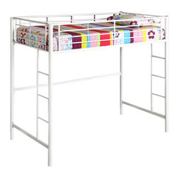 Walker Edison - Walker Edison Sunrise Metal Twin Loft Bunk Bed in White Finish - Walker Edison - Bunk Beds - BTOLWH - Elegance and function combine to give this contemporary bunk bed a striking appearance. The design gives a stylish modern look crafted with durable steel framing. Designed with safety in mind the bed includes full length guardrails and a sturdy integrated ladder. Great for any space-saving design needs.