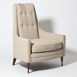 Studio A - Studio A Wayne Chair-Taupe - Mid-century-inspired, high-back chair with down-wrapped cushion and walnut-finished, oak legs. Available in Ivory or Taupe55%Linen / 45%Cotton fabric or COM.