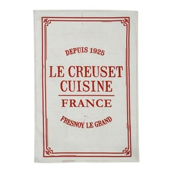 """Le Creuset - Le Creuset Cuisine Kitchen Towel 29-1/2 x 19-3/4 """" - Loop on the backside allows for easy hanging on kitchen drawers.100% Pure cotton"""
