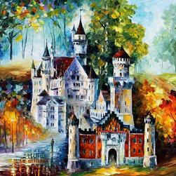 Leonid Afremov - Stretched Castle Palette Knife Oil Painting On Canvas By Leonid Afremov - Oil painting on canvas