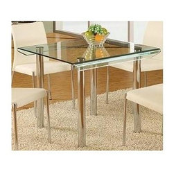 Global Furniture - Square Clear Glass Dinette Table - Includes top glass and legs. Made of glass. 33 in. L x 33 in. W x 30 in. H