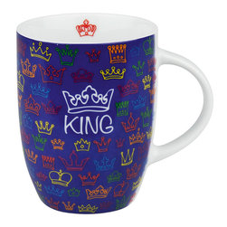 "Konitz - Set of 4 Royal Family Mugs - King - Dream of being a monarch? Appoint yourself King with this Royal Mug set. With its golden ""King"" inscription, crown design, and royal blue color, this mug set is perfect for the head of the household."