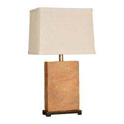 Mario Industries - Natural Stone Table Lamp - Dramatic light brown cermic lamp with rough edges to replicate real stone. Bulbs not included. Socket type: 3-way. UL Listed. Color/Finish: Light Brown. Overall Height: 25.75 in.. Shade Material: Brussels cream linen. Shade Dimensions: (10 x 14) x (9 x 13) x 11 in.