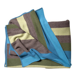 KOKO - Striped Alpaca Throw, Blue/Brown - Is there anything cozier than baby Alpaca fleece? This blanket would be just as chic in your living room as it would be warm in your mountain cabin. Just imagine yourself curled up by the fireplace and wrapped up in its embrace.