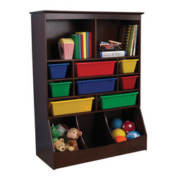 """KidKraft - Kidkraft Kids Room Decor Toy Book Gift Organizer Wall Storage Unit Espresso - Now that's a lot of storage. Our Wall Storage Unit is over four feet tall and provides a perfect place for keeping books, toys, sports equipment, shoes and more in one convenient location. Dimension: 37""""Lx 12.5""""Wx 48.88""""H"""