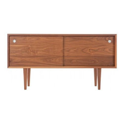 Eastvold Furniture - Eastvold Furniture | Classic Credenza Small - Made in Minnesota, by Eastvold Furniture.  Sleek and modern, with mid-century appeal, the compact Classic Credenza Small is two-thirds the size of the original Classic Credenza. Built using reinforced mitered joinery, the two solid wood doors are grain matched, rolling open with smooth sliding hardware. The interior is divided into two sections with adjustable shelves and wire management portals that allow for a variety of media configurations.  Each heirloom quality Classic Credenza Small comes with an exclusive Eastvold Furniture tag, listing your name and the date your piece was finished. Handcrafted from sustainable solid wood in Walnut or White Oak and finished with a durable, washable clear lacquer.