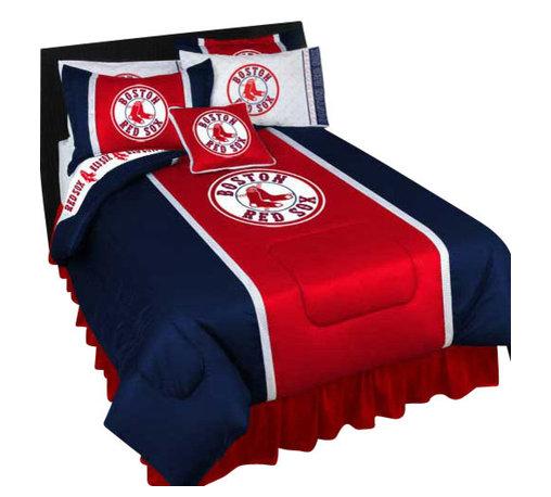 Store51 LLC - MLB Boston Red Sox Comforter Pillowcase Baseball Bedding, Queen - Features: