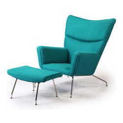 Kardiel Hans J Wegner Style Wing Chair & Ottoman, Turquoise Boucle Danish Wool - The year was 1960. Danish modern furniture design legend, Hans J Wegner sketched an upholstered wing chair literally on a drawing board using pencil and paper. The chair design had modern clean lines and an unmistakable Danish modern stance. The enveloping wrap provides the front ward looking encased structural groove of the arms. The precise curved wing chair back featured a crease folding inward which spans at shoulder height the width across. Yes, these features were aesthetically genius to the design. But they were also the foundation of Wegneres Ergonomics of modern clean form and comfort in functionality. The CH445 Wing Chair provides unexpected comfort in multiple seating positions from curled up to proper upright.