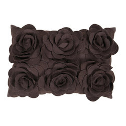 Surya Rugs - 13-Inch x 20-Inch  Espresso Floral Pillow Cover with Poly Insert - - 13 x 20 70% Wool and 30% Other Fiber Pillow Cover w/ Poly Insert.   - For more than 35 years, Surya has been synonymous with high quality, innovation and luxury.   - Our designers have masterfully created some of the most cutting edge and versatile pieces to bring out the best in every room.   - Encompassing their expert understanding of the latest trends in fashion and interior design, each product is a perfect combination of color, pattern and texture to accommodate the widest range of tastes.   - With Surya, the best in design and quality is at your fingertips.   - Add a bit of natures beauty to your room with this pillow.   - Large, fashionable flowers stand out in any space.   - The color espresso accents this decorative pillow.   - This pillow contains a poly fill and a zipper closure.   - Add this 13 x 2 pillow to your collection today.   - Pantone: Espresso.    - Made in India.   - Care Instructions: Spot Clean.   - Cover Material: 70% Wool/30% Other Fiber.   -  Fill Material: Poly fiber. Surya Rugs - FA083-1320P