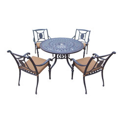 Oakland Living - 5-Pc Round Dining Set - Includes one table, four stackable chairs with sunbrella cushions and metal hardware. Handcast. Artistic pattern work is crisp and stylish. Fade, chip and crack resistant. Umbrella hole table top. Hardened powder coat. Warranty: One year limited. Made from rust free aluminum. Aged color. Minimal assembly required. Chair: 26.75 in. W x 22 in. D x 36 in. H (20 lbs.). Table: 46 in. Dia. x 28.75 in. H (45 lbs.). Overall weight: 159 lbs.This dining set is the prefect piece for any outdoor dinner setting. Just the right size for any backyard or patio. The Oakland Victoria Collection combines practical designs and modern style giving you a rich addition to any outdoor setting.