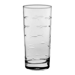 Rolf Glass - School of Fish Cooler 15oz, Set of 4 - Tall and long and lovely, this set of glasses won't disappoint. You can use them for everything from lemonade to Mai Tai's. Made from cut glass. A school of artfully etched fish swims across every surface.