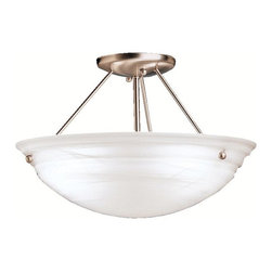 "BUILDER - BUILDER 3122NIA Cove Molding Top Glass Transitional Semi-Flush Mount Ceiling Lig - Utilizing basic shapes and a simplistic design, the Family Spaces Pendant Collection provides fantastic lighting and classic style that goes with any decor. Our Nickel Alabaster finish adds to the clean look of Family Spaces fixtures while the alabaster swirl glass generates a soft and pure ambiance in your home. This semi-flush pendant employs a 3-light design that uses 100-watt (max.) bulbs to light this 15"" diameter fixture."