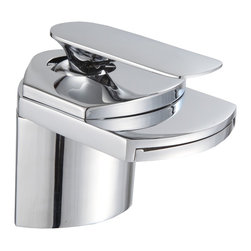 None - Gallery Bathroom Sink Chrome Waterfall Faucet - This elegant sink faucet will add the perfect touch to any bathroom. The waterfall style is modern and sleek.