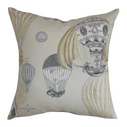 The Pillow Collection - Carenza Geometric Pillow, Iron Stone - The whimsical geometric pattern in this throw pillow lends a modern vibe to your interiors. The graphical detail features hot air balloons in shades of muted brown and blue. This square pillow is perfect for your children's playroom or any room inside your home. You can play with various elements by pairing other geometric patterns with this accent pillow. Made of 100% soft and plush cotton fabric. Hidden zipper closure for easy cover removal.  Knife edge finish on all four sides.  Reversible pillow with the same fabric on the back side.  Spot cleaning suggested.