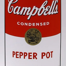 """Andy Warhol Campbell Soup Can (Pepper Pot) Sunday B Morning Silkscreen Popart - STUNNING CAMPBELLS SOUP CAN ANDY WARHOL SUNDAY B MORNING SERIGRAPH SCREEN PRINT!, These are fabulous exciting silkscreen screenprints. These are Sunday B. Mornings editions screenprints that are stamped on the verso in blue ink published By Sunday B Morning, fill in Your Own Signature. The inks' are the 1980's editions and the quality and integrity of the prints is impeccable. They are excellent High quality Silkscreen Screenprints printed on 'museum board' with the highest quality archival inks. Comes with Certificate of Authenticity. These are highly sought after by collectors for their quality, rarity and exciting vibrant colors.These are in excellent mint condition. Size is large at 35"""" x 23"""" inches."""