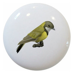 Carolina Hardware and Decor, LLC - Australian Golden Whistler Ceramic Cabinet Drawer Knob - 1 1/2 inch white ceramic knob with one inch mounting hardware.  Great as a cabinet, drawer, or furniture knob.  Adds a nice finishing touch to any room!