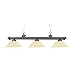 Z-Lite - Z-Lite Riviera Kitchen Island / Billiard X-61MG-BO3-002 - Elegant and traditional best describes this beautiful three light fixture. Finished in old bronze and paired with golden mottle shades, this three light fixture would be equally at home in the game room, or anywhere else in the house needing a touch of timeless charm. 72 inches of chain per side is included to ensure a perfect hanging height.