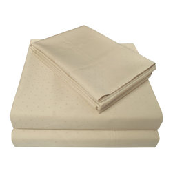 "400 Thread Count Swiss Dot Sheet Set - Queen, Beige - This 100% Egyptian cotton Bedding Set is soft yet perfect for everyday use. This set features a homely and comforting Swiss dot pattern. Luxurious and comfortable at an affordable price. Set includes one flat sheet 90""x104"", one fitted sheet 60""x80"", and two pillowcases 21""x31"" each."
