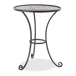 """Viva Terra - Rimmed Top Iron Table - Crafted in a California ironworks foundry, this tripod table has arching legs and a slim silhouette, making it a graceful complement to the sculptural allure of our Gustavian Bed. Its roomy top has a hand-rubbed finish, and the raised rim keeps beside objects securely in place. 22""""DIAM x 28""""H"""