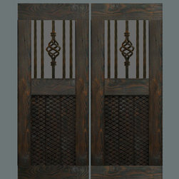 Custom Swinging Saloon Doors - Let's create a set of custom swinging doors unlike any you've ever seen! Reclaimed antique wrought iron bars? Old iron grate? Distressed painted finish? Convo me with your budget, dimensions, and thoughts, and I'll put together some options for you to consider.