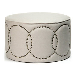 Kathy Kuo Home - Modern Classic Round Linen Nail Head Cocktail Ottoman - Few pieces can combine functional lines, restrained modernism and whimsical detailing with the panache of this round, lined cocktail ottoman.  To some, it is a global bazaar  ottoman, to others a classic mid century modern seat.  However you see it, the beauty and charm of this piece dominate; making it the perfect choice for a variety of styles and applications.