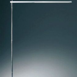 """Artemide - Artemide Talak LED floor lamp - The Talak LED floor lamp from Artemide has been designed by Neil Poulton in 2008. This floor mounted luminaire is great for direct adjustable led lighting. The Talak is composed of a body made of injection molded thermoplastic in a matte white powder coated finish The stem of the lamp is in polished chrome steel while the floor base is in white painted steel. The body of this fixture rotates 360 degrees upon its vertical axis and can be adjusted in height by sliding it along its stem. Dimmer switch on body. UL listed.  Product Details:  The Talak LED floor lamp from Artemide has been designed by Neil Poulton in 2008. This floor mounted luminaire is great for direct adjustable led lighting. The Talak is composed of a body made of injection molded thermoplastic in a matte white powder coated finish The stem of the lamp is in polished chrome steel while the floor base is in white painted steel. The body of this fixture rotates 360 degrees upon its vertical axis and can be adjusted in height by sliding it along its stem. Dimmer switch on body. UL listed.  Details:       Manufacturer:     Artemide      Designer:    Neil poulton      Made in:    Italy      Dimensions:     Height: max 54.75"""" (139 cm) Width: 33 11/16"""" (85 cm)      Light bulb:     1 X 80W LED      Material:     Thermoplastic, Steel"""