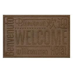 Bungalow Flooring - Aqua Shield 2'x3' Worldwide Welcome Doormat, Dark Brown - Premium 24-oz. anti-static polypropylene mat traps dirt, water and mud.